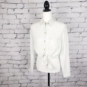 Aritzia White and Blue Button Down Shirt